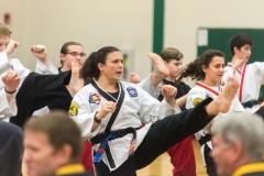 Female Black Belt Performing a Front Kick